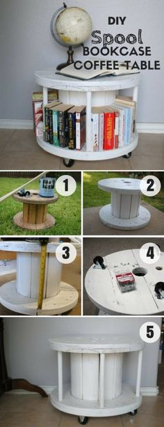 Check out how easy it is to build this DIY Spool Bookcase Coffee Table @istandarddesign