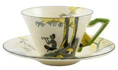 English Art Deco Cup & Saucer with Pan Decor