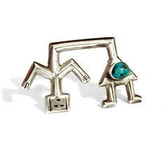 Yei Bei Navajo Brooch Pin, 925 Sterling Silver, Kachina Naja Brooch,... ($115) via Polyvore featuring jewelry, brooches, vintage navajo jewelry, indian jewelry, pin brooch, sterling silver brooch and vintage jewelry