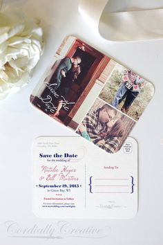 Picture Collage Save the Date Postcard RETRO Style, vintage look for wedding, engagement, party, and more