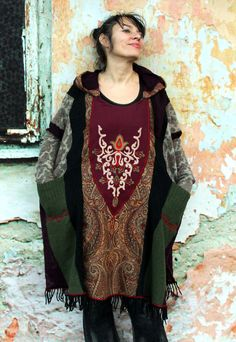 Free size peisley embroidered sweater poncho with hood recycled hippie boho ethnic goth style