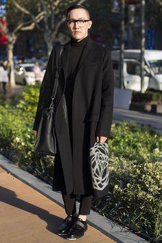 Xintiandi, SHANGHAI. Zhang Lei, designer. Dior coat and shoes, Burberry pants, Fendi bag.
