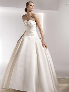 Ball Gown Satin Bridal Dress with Balloon Skirt and Slit Bodice