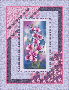 "Check out our FREE ""Orchid Harmony"" quilt pattern using the collection, ""Orchid Shadows"" by Dover Hill Studio for Benartex. Designed by Stitched Together Studios. Finished size: 46"" x 54""."