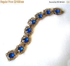 Blue Sapphire colored stones Bracelet Gold by MargsMostlyVintage