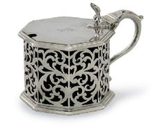A WILLIAM IV SILVER MUSTARD POT, MARK OF SEBASTIAN CRESPEL II, LONDON, 1836, FROM THE COLLECTION OF H.R.H. THE PRINCE HENRY, DUKE OF GLOUCESTER KG, KT, KP.