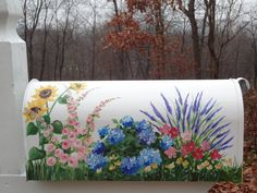 Hand Painted Mailbox with Garden Flowers      by DancingBrushes, $109.99