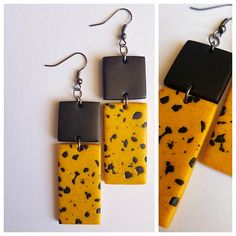 Funky geometric yellow black earrings Handmade polymer clay charm earrings Handcrafted square rectangle jewelry Yellow gold dangle earrings