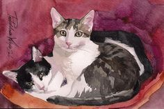 Print of the Original Watercolor Painting Cat by creativeartistic
