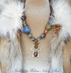 Tribal Bohemian Hand of Fatima Khamsa hamsa by MorningDoveDesign Jewelry Ideas, Jewelry Design, Hamsa Necklace, Cowgirl Bling, Hand Of Fatima, Glass Beads, Gemstones, Crystals, Metal