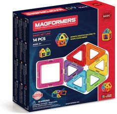 Let kids build a world of their own with the Magformers Standard set. This set comes with different coloured shapes that connect using neodymium rare-earth magnets. Pieces are made from BPA-free plastic for safe and creative fun. Building For Kids, Building Toys, Magnetic Building Blocks, Rare Earth Magnets, Triangle Shape, Creative Thinking, Educational Toys, Geometric Shapes, Rainbow Colors