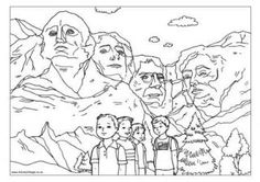 Mount Rushmore Coloring page:  President's Day in February!