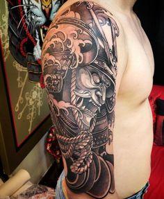 9b7b5944a Japanese Warrior Tattoo, Japanese Tattoo Art, Japanese Sleeve Tattoos, Half  Sleeve Tattoos For Men, Tatuagem Mascara Samurai, Samurai Tattoo Sleeve, ...