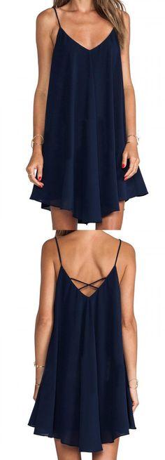 Navy Blue Cross Back Cami Swing Dress