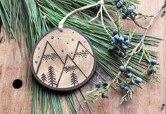 "Personalized Mountain Wood Slice Ornament - LARGE 3.75"" by 3.25"" Natural…"