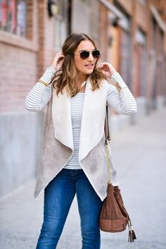 Need this sherpa vest. Winter Outfits Casual Cold, Winter Outfits Women, Casual Outfits, Fall Outfits, Look Fashion, Fashion Outfits, Fashion Trends, Fashion Killa, Fashion Ideas