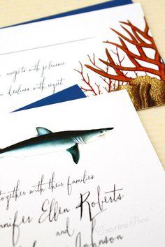 Shark Wedding Invitations - Sample by ConcertinaPress on Etsy https://www.etsy.com/listing/178484988/shark-wedding-invitations-sample