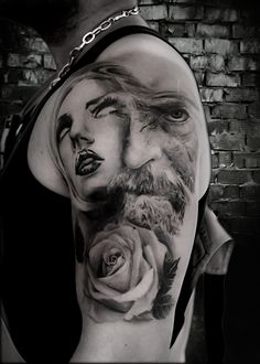 Woman Tattoo- Old Tattoo- Rose Tattoo- Dark Tattoo by Antonio Orlando- Taurisano, Lecce- Italy