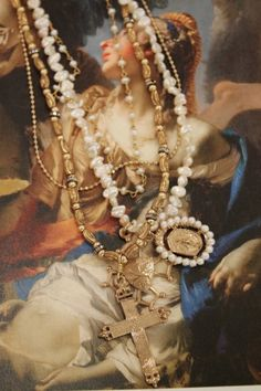 Andrea Barnett Necklace Miraculous Medal, pearls, chain