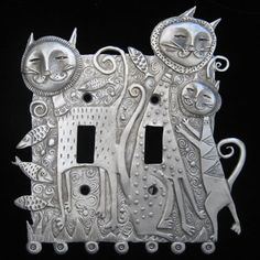 kitties and Don Drumm doesn't get much better than this Switch Plate Covers, Light Switch Covers, Switch Plates, Pewter Art, Pottery Handbuilding, Metal Embossing, Tin Art, Indian Art Paintings, Cat Jewelry
