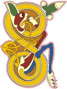 Vector clipart: Book of Kells - initial letter S with lion head