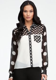 bebe Mix Dot Blocked Button Up Blouse Woven Tops Penelope Dot 2-s coupon| gamesinfomation.com