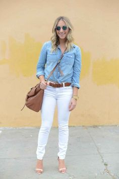 Pair a lightweight chambray shirt w/ crisp white jeans to create a cool Texas tuxedo (Cupcakes and Cashmere blog)