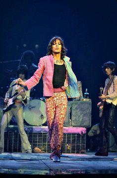 "soundsof71: ""Mick Jagger glam, 1975: working the runway like a supermodel, by Bob Gruen """