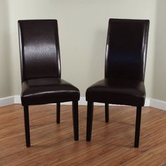 Faux Leather Dark Brown Dining Chairs Set Of 2 Upholstered Dining Rustic Armless #Monsoon #TransitionalTraditionalModernBlend