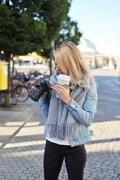 Jean jacket & scarf