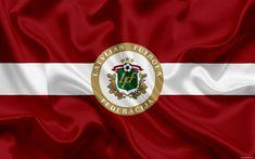 Download wallpapers Latvia national football team, emblem, logo, football federation, flag, Europe, flag of Latvia, football, World Cup