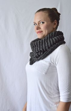 Knit Merino Lace Chunky Shawl Scarf / The October / Charcoal Gray - pinned by pin4etsy.com