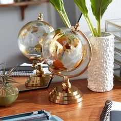 Glass And Aluminium, Copper Glass, Gold Glass, Clear Glass, Globe Decor, Flowering Vines, White Home Decor, Glass Globe, Home Decor Outlet