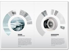 This magazine layout uses a simple and neat layout for the bodies of text, but for the images (which take center-stage here) a circular, geometric shape is incorporated.