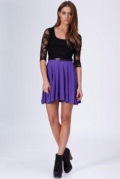 Lace Top Skater Dress