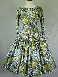 Original Vintage 50s 'Jonathan Logan' Stunning Rose Print Dress Full Skirt 8 10