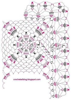 Crochet Doily Beautiful square motif suitable for Many projects The doily crochet pattern / diagram … A beautiful crochet shawl using this motif … Crochet Doily Diagram, Crochet Motifs, Crochet Art, Crochet Squares, Filet Crochet, Vintage Crochet, Easy Crochet, Crochet Stitches, Lace Doilies