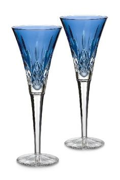 Waterford Lismore Sapphire Toasting Flutes Pair
