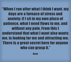 Law of attraction - when I run after what I think I want, my days are a furnace of stress and anxiety. If I sit in my own place of patience, what I need flows to me, and without any pain. What I want also wants me, is looking for me and attracting me. There is a great secret here for anyone who can grasp it.