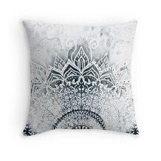 MINA MANDALA  Throw Pillows Black and white
