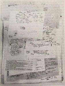 """Alexander von Humboldt's lecture notes. """"Humboldt had no qualms about tearing books apart, pulling pages from the volumes which he also stuck on his paper with little red and blue sticky dots  -,a 19th-century version of Blu-tack"""" from Andrea Wulf's _ The Invention of Nature_"""