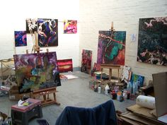 Studio of Don Henderson, building up paintings inspired by the Oxford Canal