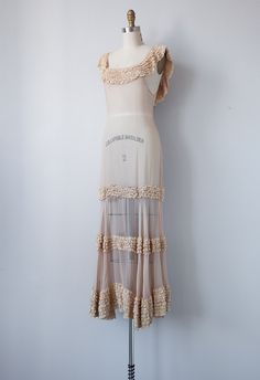 vintage 1930s gown / vintage 1930s dress / vintage cream sheer ruffled wedding gown / antique dress. $328.00, via Etsy.