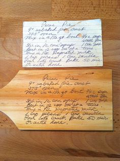 Custom Hand Wood Burned Recipe on Cutting by SoulfulSimplicity Wood Burning Crafts, Wood Burning Art, Crafts To Do, Wood Crafts, Paper Crafts, Write On Wood, Framed Recipes, Wax Paper Transfers, Wood Transfer