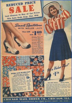 Summery 1940s fabrics, shoes, and a lovely warm weather ensemble. #vintage #catalog #1940s #fashion #fabric