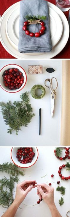 String some cranberries for a simple, rustic Christmas Touch.