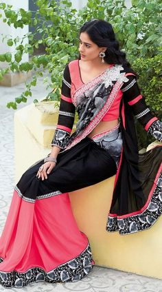 Pink Faux Chiffon Half And Half Saree ES311506 #Laxmipati #Sarees