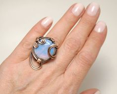 Moonstone Ring, Wire wrapped jewelry handmade, Copper Wire Jewelry, Moonstone Jewelry, Copper Ring *Love it and want to buy later? Click on the heart to your right that says Add item to favorites. ***Want it now? Click the green Add to cart button  *** If you need help on how to purchase an item on Etsy, please visit this helpful link : https://www.etsy.com/help/article/339  ***Want to see more item from my shop*** Necklace : http://etsy.me/1W39o5m Ring...