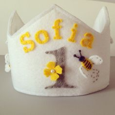 Felt Princess Birthday Crown with Bumble Bees Yellow and Grey by pixieandpenelope