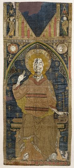 """The 'John of Thanet' panel, 1300-20. """"The seated figure of Christ enthroned is 68.5cm high, on a larger scale than any other example of English medieval embroidery"""" Woven silk twill, embroidered with silver-gilt, silver and silk threads and pearls"""